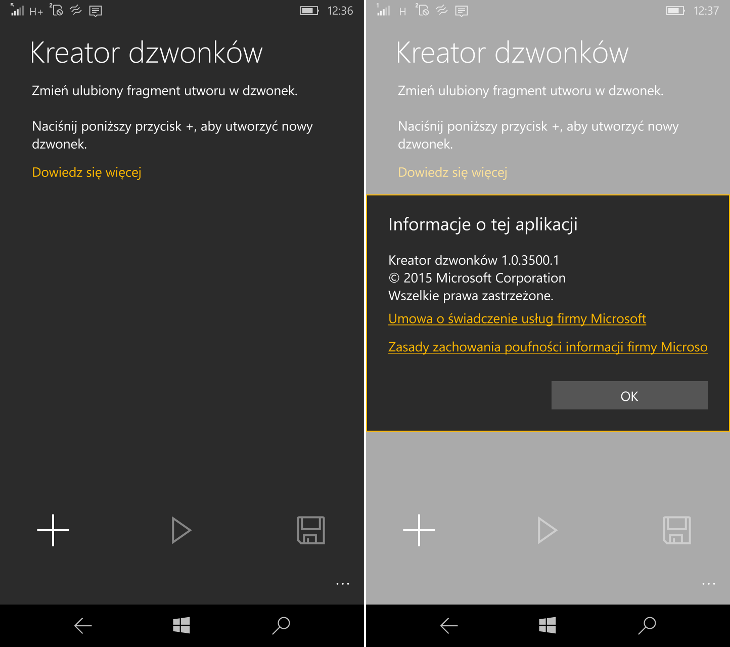 Kreator dzwonków Windows 10 Mobile