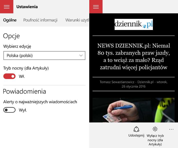 MSN Wiadomości - tryb nocny