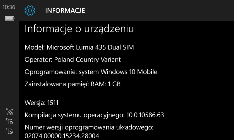Windows 10 Mobile Build 10586.63 - Microsoft Lumia 435 Dual SIM