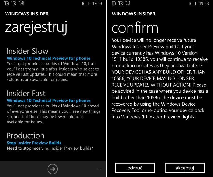 Windows Insider - zatrzymanie kompilacji testowych