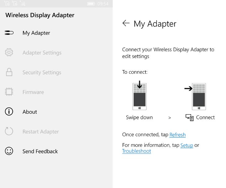 Aplikacja Wireless Display Adapter dla Windows 10 Mobile