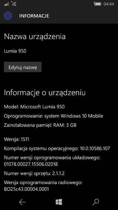 Lumia 950 XL - 10.0.10586.107