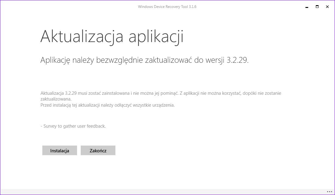 Aktualizacja Windows Device Recovery Tool