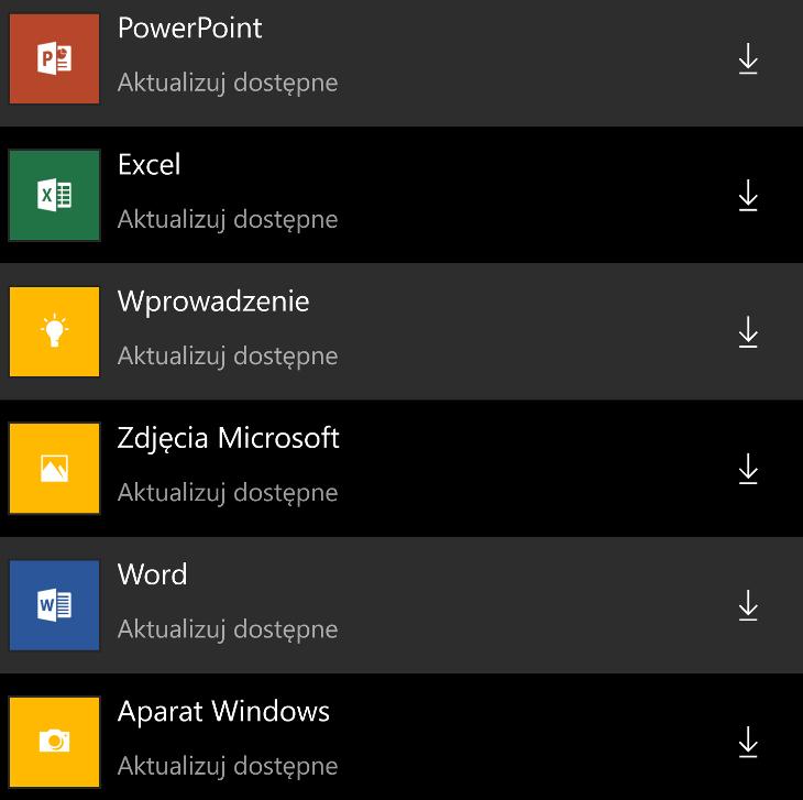 Aktualizacje aplikacji