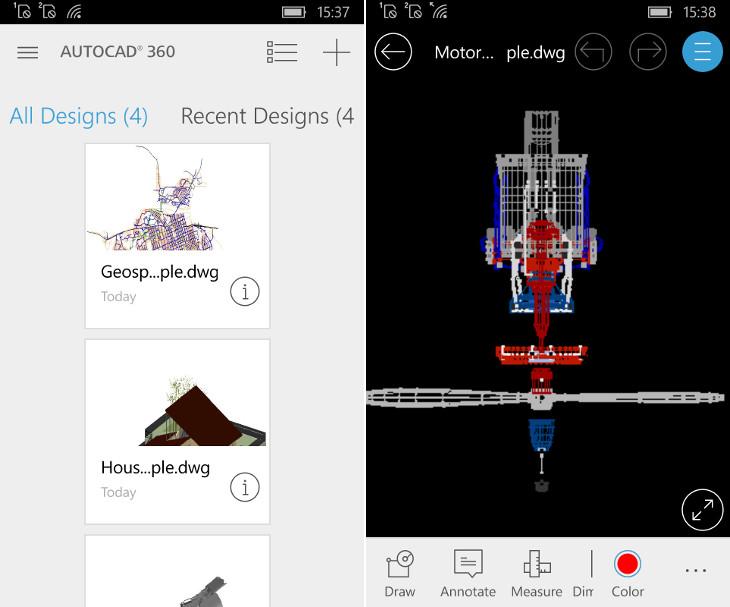AutoCAD 360 dla Windows 10 Mobile