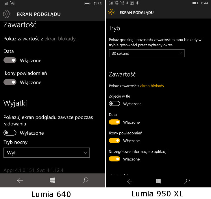 Ekran podglądu w Windows 10 Mobile