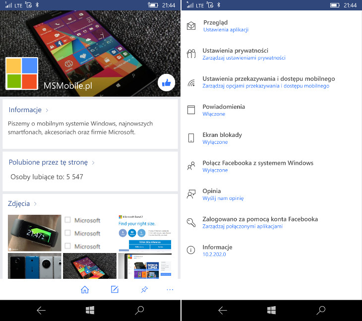 Facebook Beta 10.2.202.0 dla Windows 10 Mobile