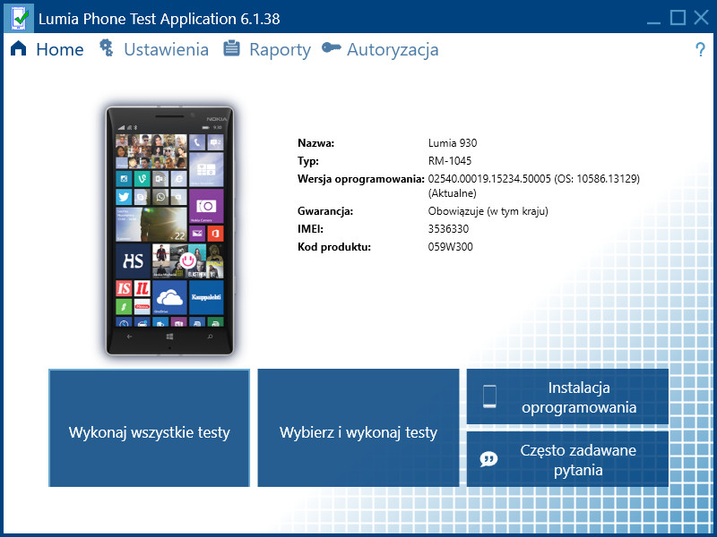 Lumia Phone Test Application 6.1.38