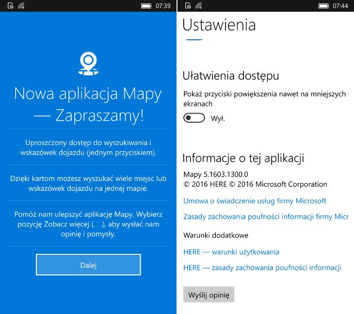 Mapy Windows 5 dla Windows 10 Mobile TH2
