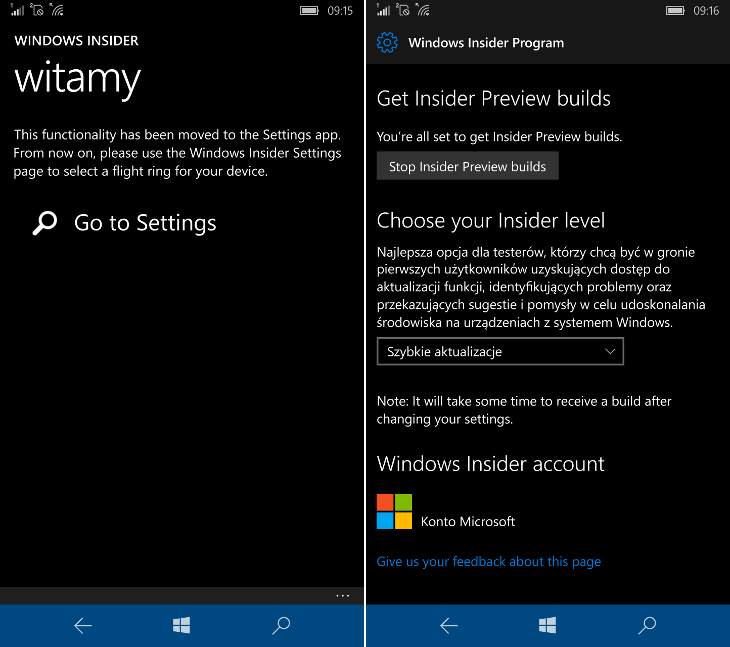 Windows Insider - Windows 10 Mobile Redstone 1
