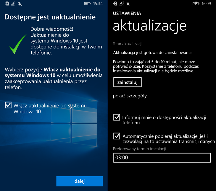 Aktualizacja Windows 10 Mobile