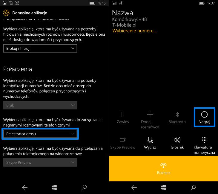 Nagrywanie rozmów w Windows 10 Mobile