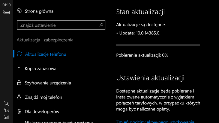 Windows 10 Mobile Build 14385