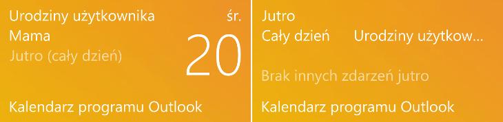 Kalendarz Outlook - dynamiczny kafelek