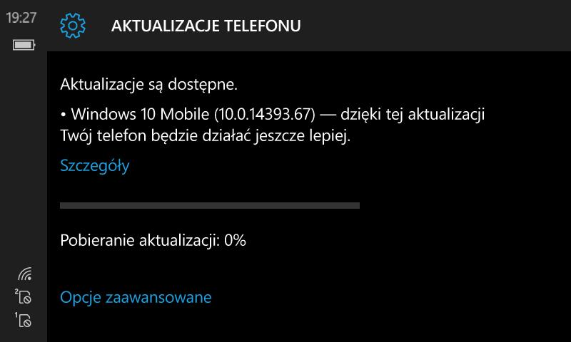 Windows 10 Mobile Build 14393.67 Anniversary Update