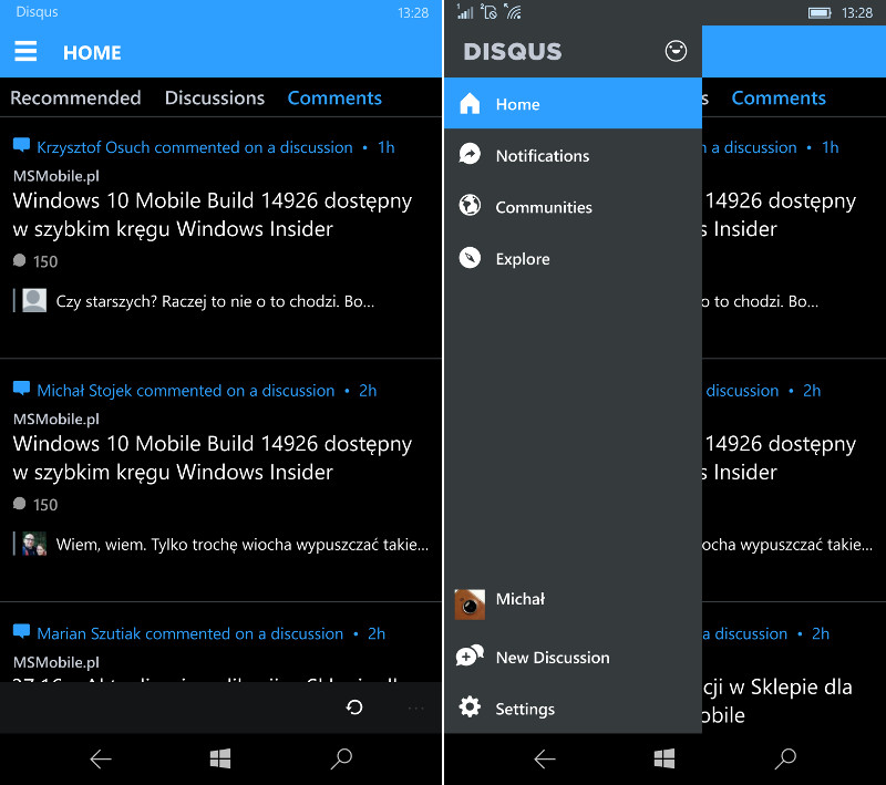 Disqus (Beta) dla Windows 10 Mobile