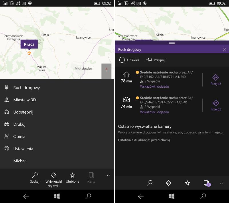 Ruch drogowy Mapy Windows w Windows 10 Mobile