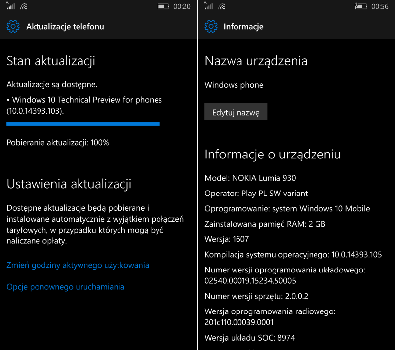 Windows 10 Mobile Build 14393.105