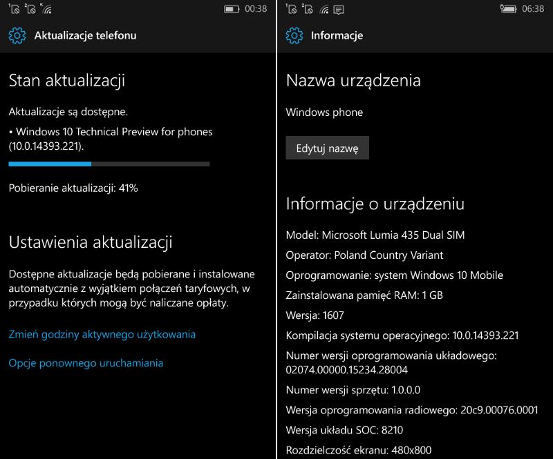 Windows 10 Mobile Build 14393.221