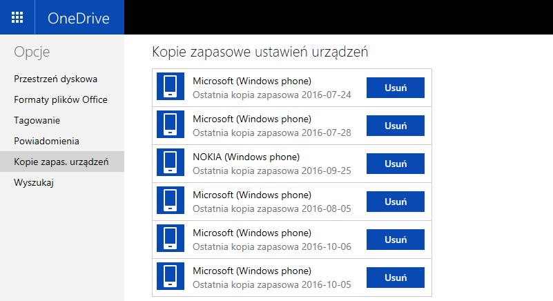 Kopie zapasowe w OneDrive