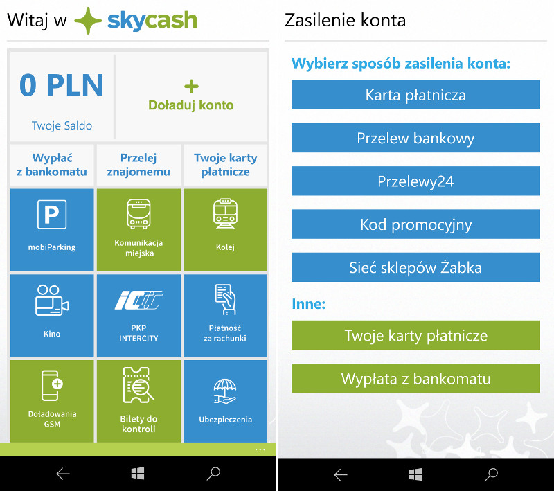 SkyCash Windows 10 Mobile