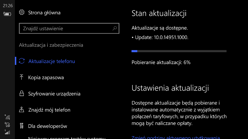 Windows 10 Mobile Build 14951