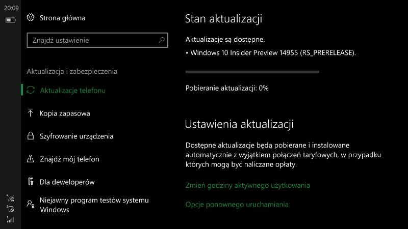 Windows 10 Mobile Build 14955