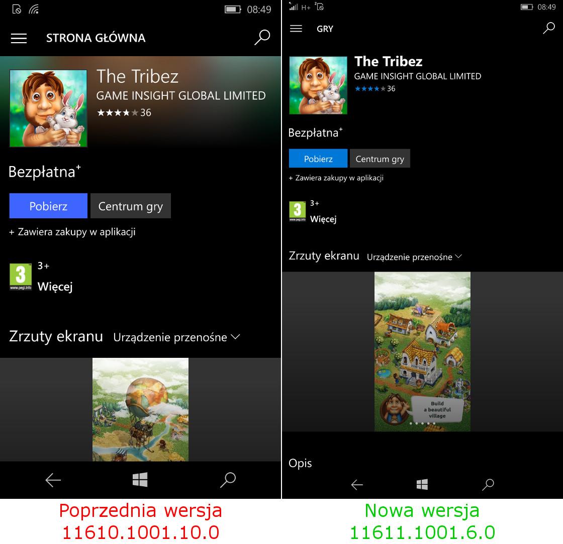 Aktualizacja Sklepu Windows 10 Mobile