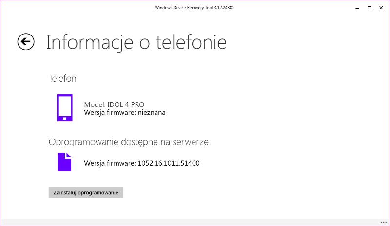 Alcatel IDOL 4 Pro dodany do aplikacji Windows Device