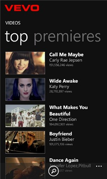 VEVO Windows Phone