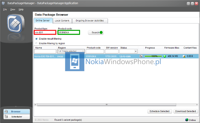 Krok 1 - Nokia Data Package Manager